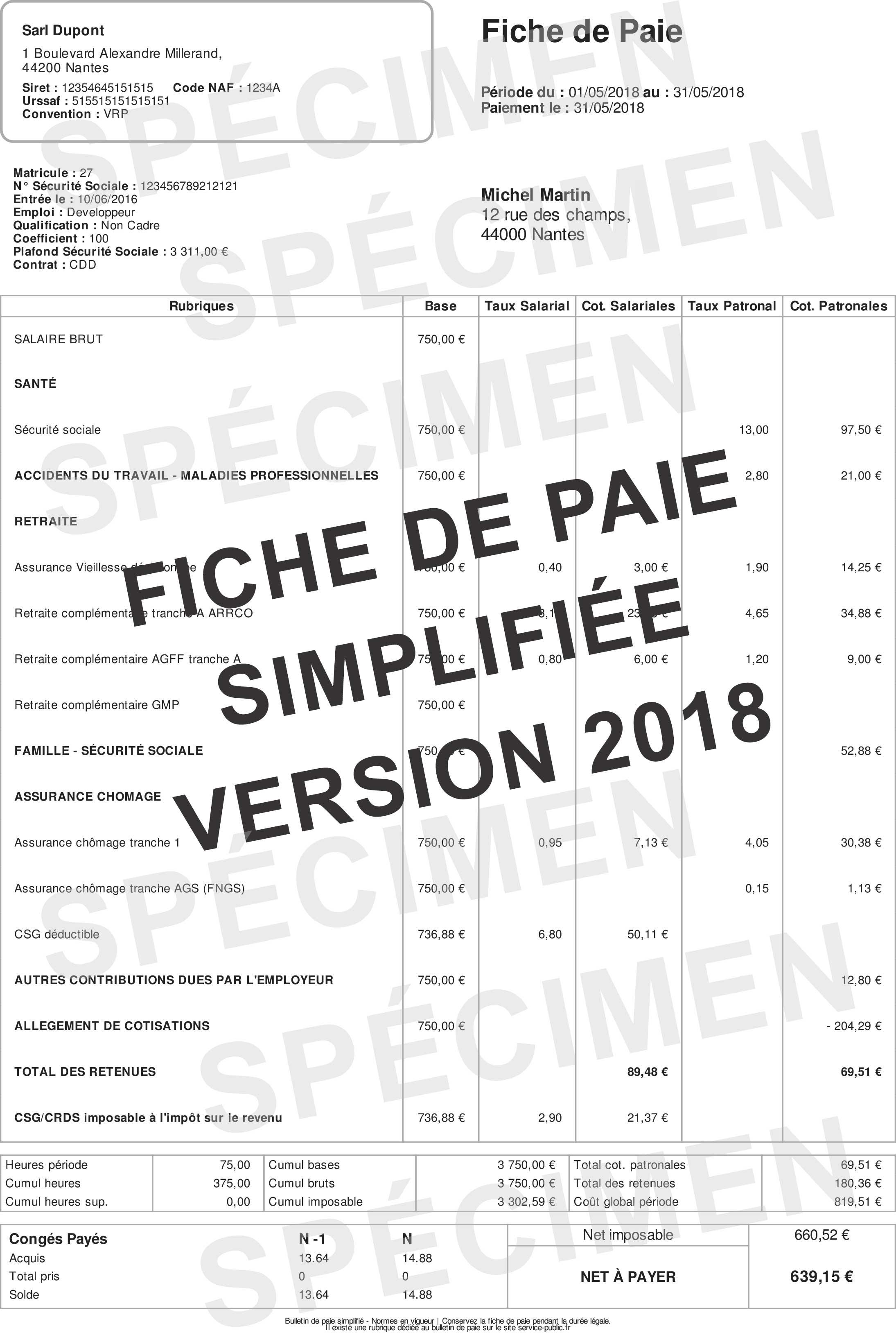 Fiche De Paie 2018 Le Bulletin De Paie Simplifie Fiche Paie Net